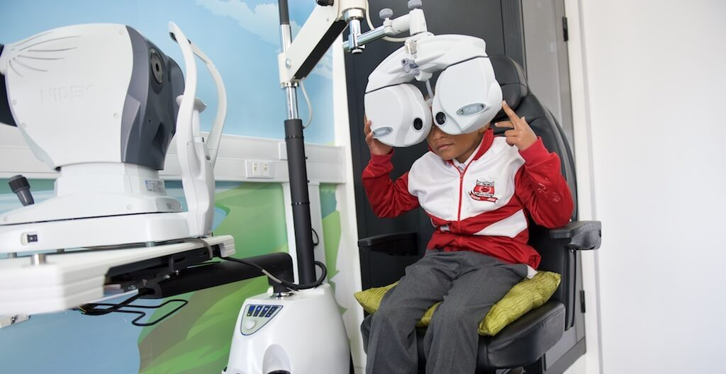 Optometry test on the Mobile Schools Health bus