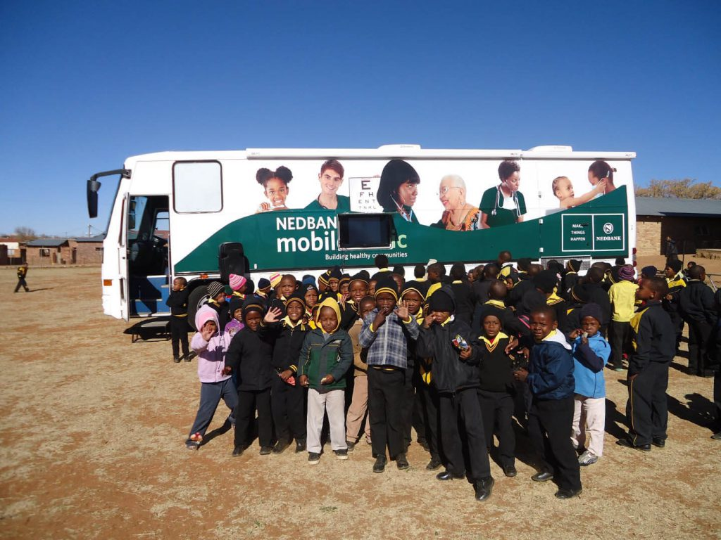 Learners at the Nedbank Mobile Clinic Project