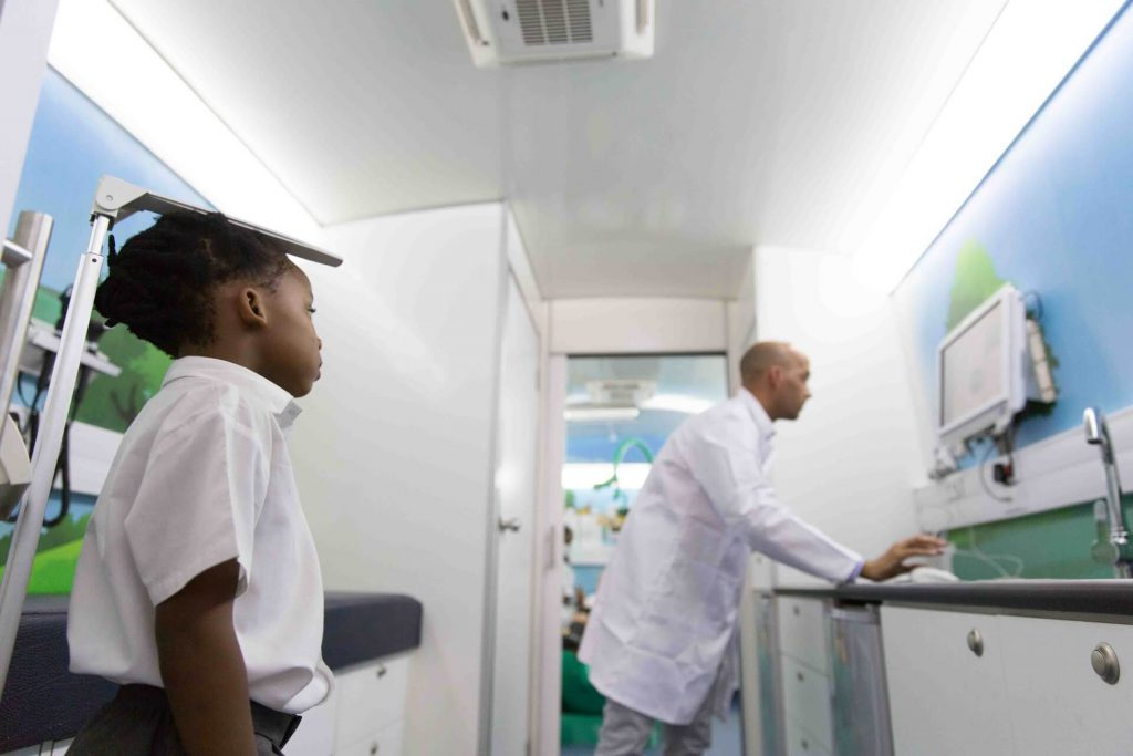 Primary Healthcare test on the Mobile Schools Health bus
